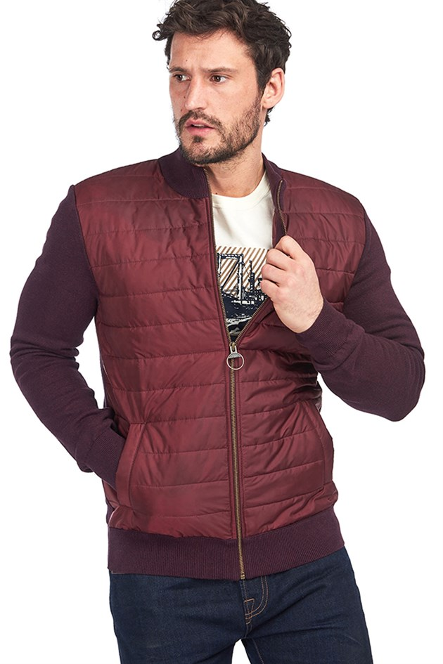 Barbour Carn Baffle Zip Thru Quilted Sweater RE94 Merlot