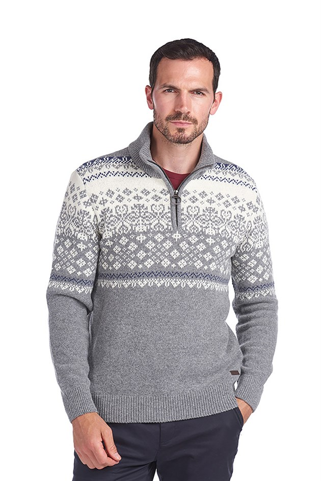 Barbour Fairisle Half Zip Sweater GY72 Mid Grey