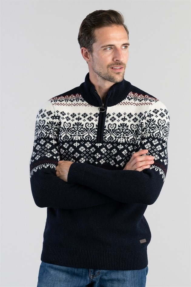 Barbour Fairisle Half Zip Sweater NY91 Navy